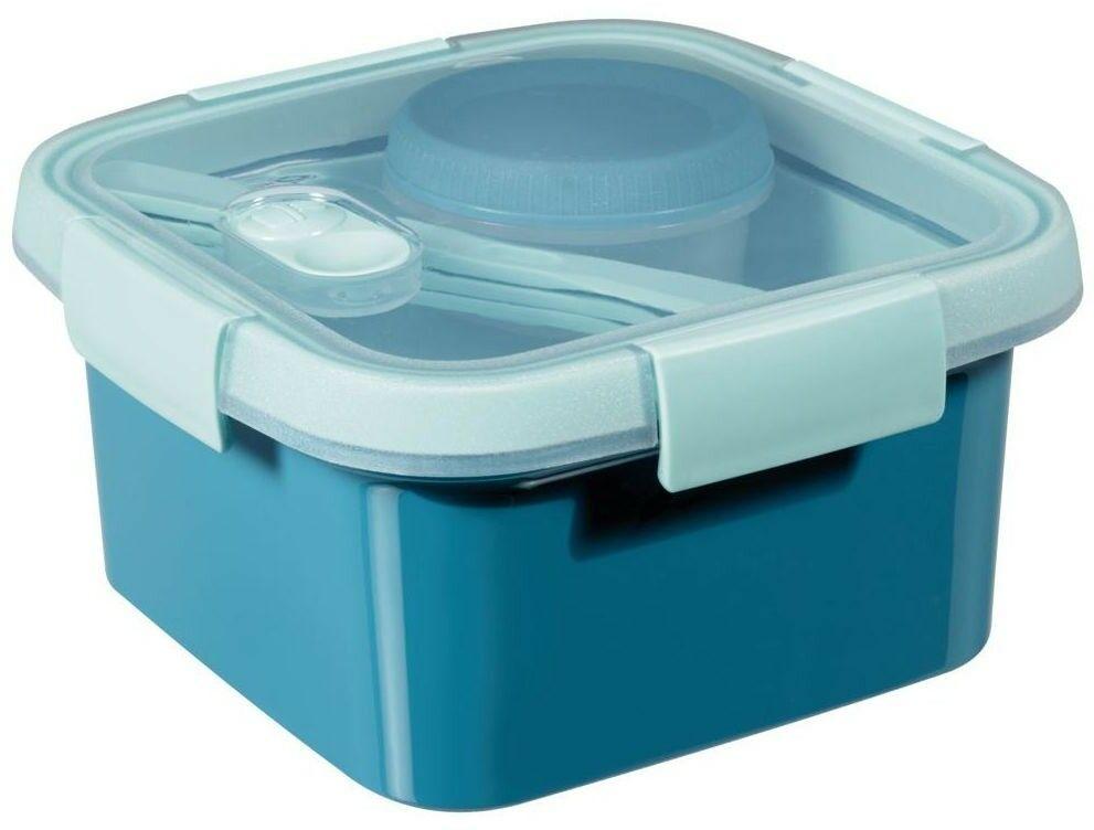 Kwadratowy Pojemnik na Żywność Lunchbox Curver 1,1 l do Mikrofali ze Sztućcami Tacką