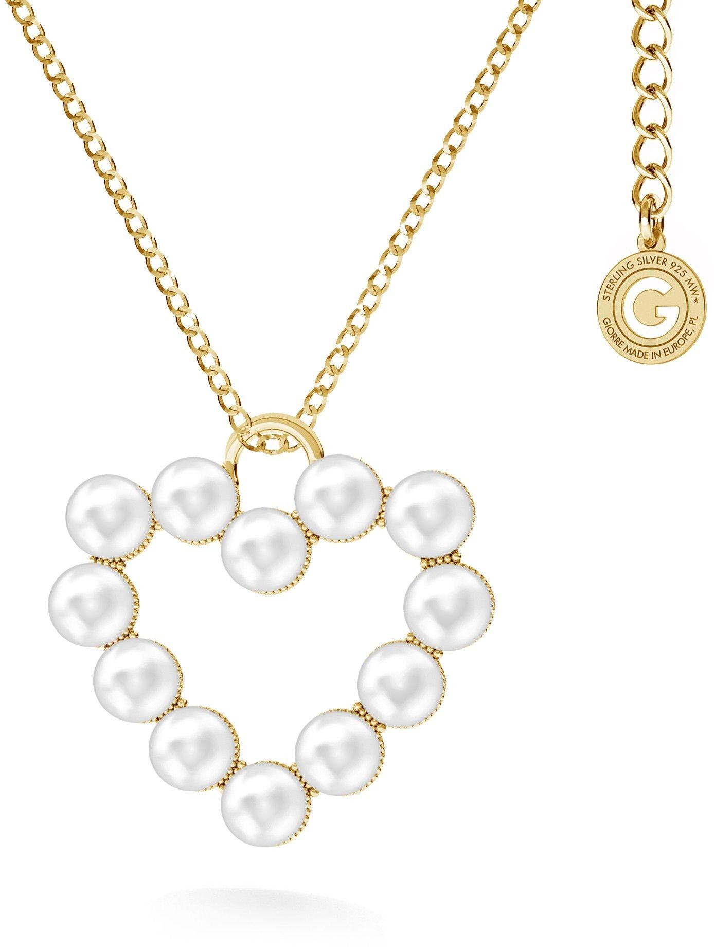 Naszyjnik serce z perłami, Swarovski, srebro 925 : Perła - kolory - SWAROVSKI WHITE, Srebro - kolor pokrycia - Pokrycie żółtym 18K złotem