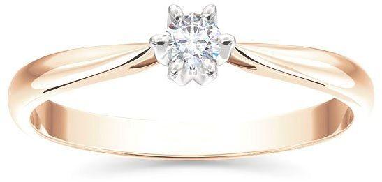Pierścionek zaręczynowy z różowego i białego złota z brylantem ap-6610pb