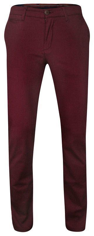 Gładkie Bordowe Casualowe Męskie Spodnie -RIGON- Zwężane, Bawełniane, Chinosy SPRGN2207bordo1505625