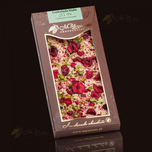 Czekolada biała 25,9% z pistacjami i wiśniami