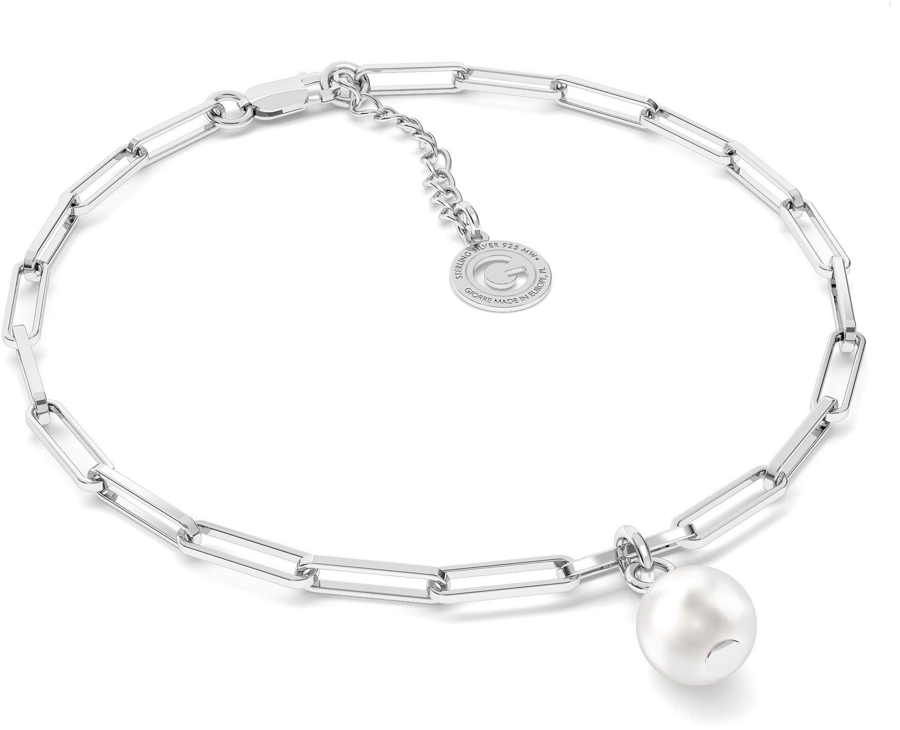 Srebrna bransoletka z okrągłą perłą Swarovskiego, srebro 925 : Srebro - kolor pokrycia - Pokrycie platyną