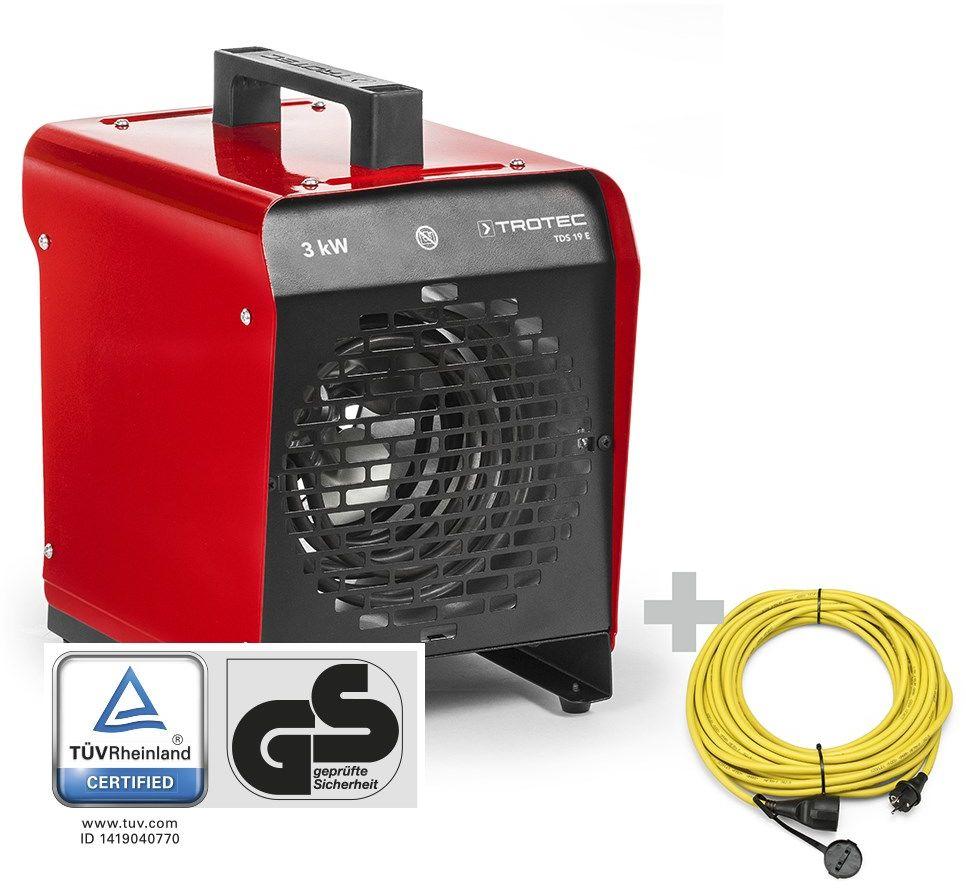 Nagrzewnica elektryczna nadmuchowa TDS 19 E + Przedłużacz Profi 20 m / 230 V / 2,5 mm