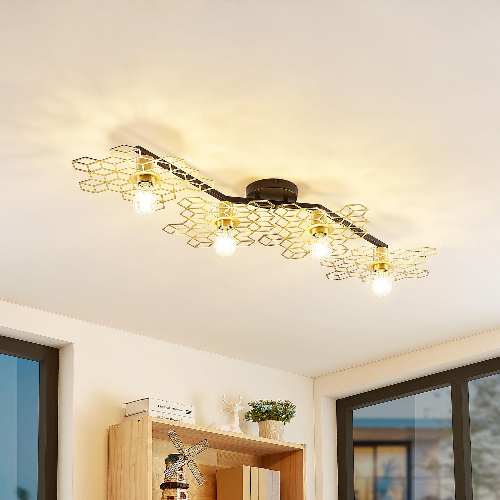 Lucande Alexaru lampa ścienna, 4-punktowa, złota