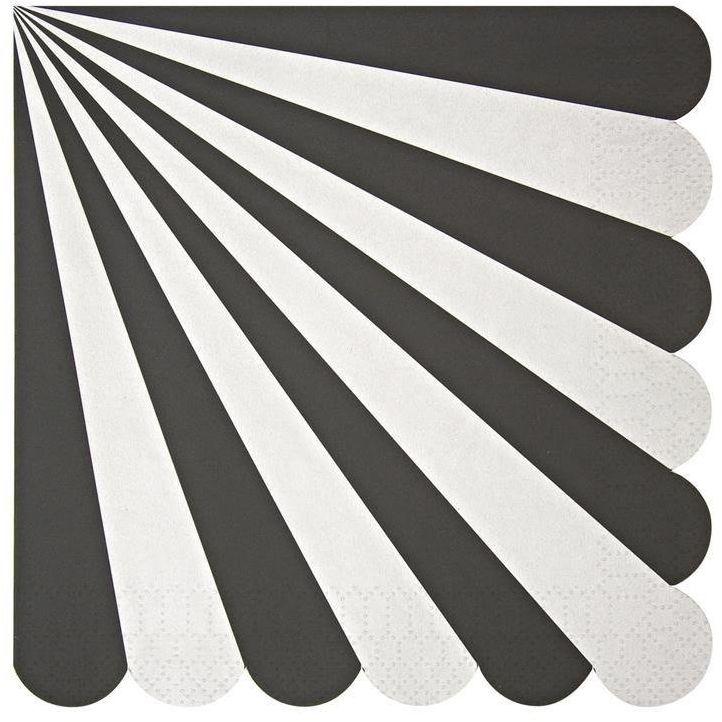 Meri Meri - Duże serwetki Paski biało-czarne