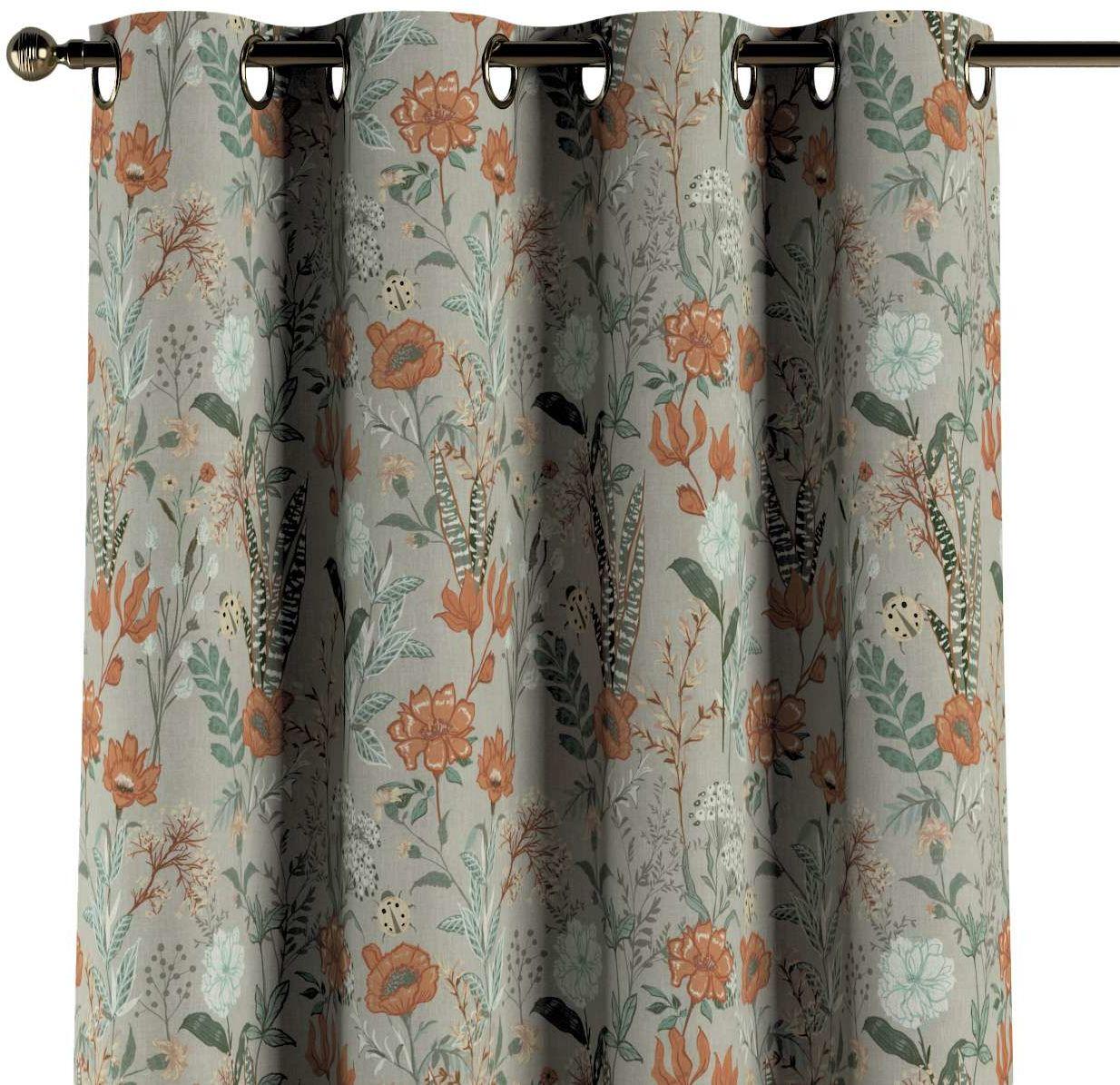 Zasłona na kółkach 1 szt., kolorowe kwiaty na szarym tle, 1szt 130  260 cm, Flowers