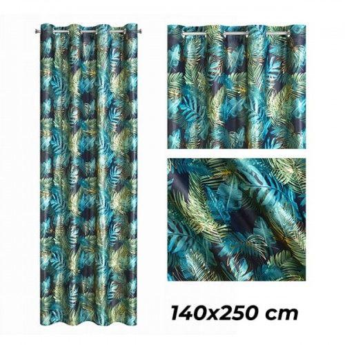EUROFIRANY Zasłona gotowa DAVOS 140x250 cm motyw liści