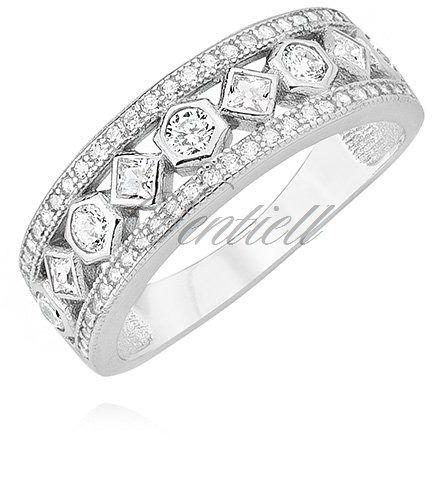 Srebrny pierścionek pr.925 obrączka z białymi cyrkoniami