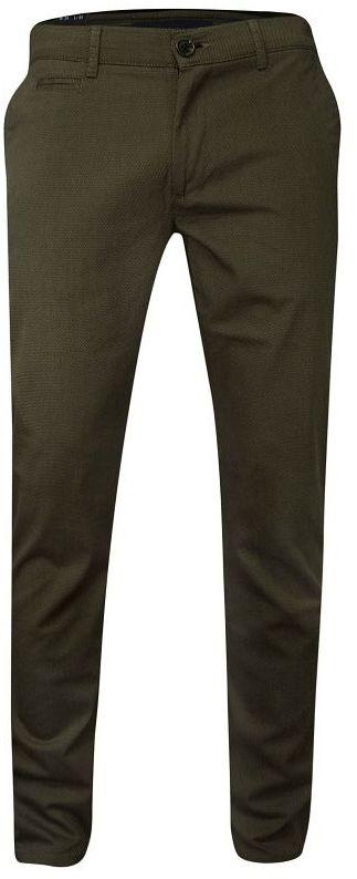 Casualowe Męskie Spodnie Brązowe -RIGON- Zwężane, Bawełniane, Chinosy, w Drobny Wzór SPRGN2207075kahve