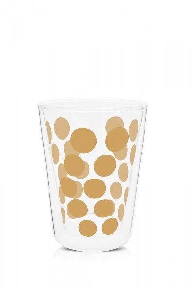 Zak!- Zestaw 2 szklanek 350ml z łyżeczkami, złoty