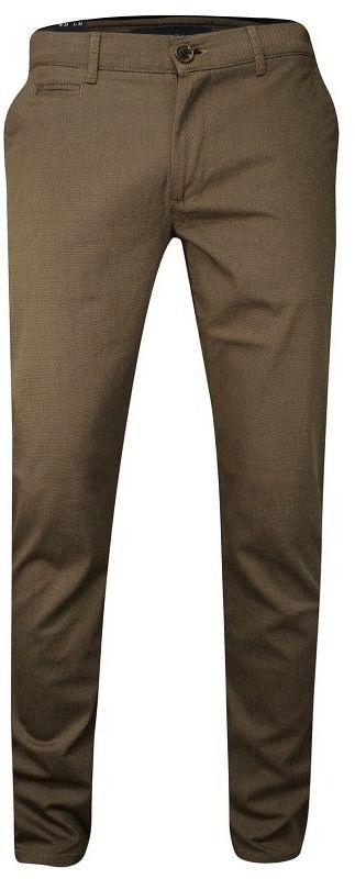 Karmelowe Casualowe Męskie Spodnie -RIGON- Zwężane, Bawełniane, Chinosy, Beżowe, w Drobny Wzór SPRGN2207051camel