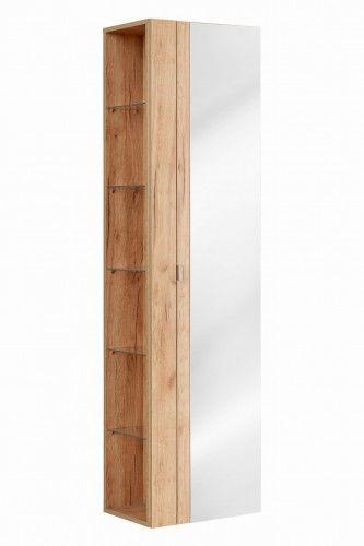 Szafka wysoka z lustrem 45 x 170 x 33 ,Seria Capri Dąb Złoty