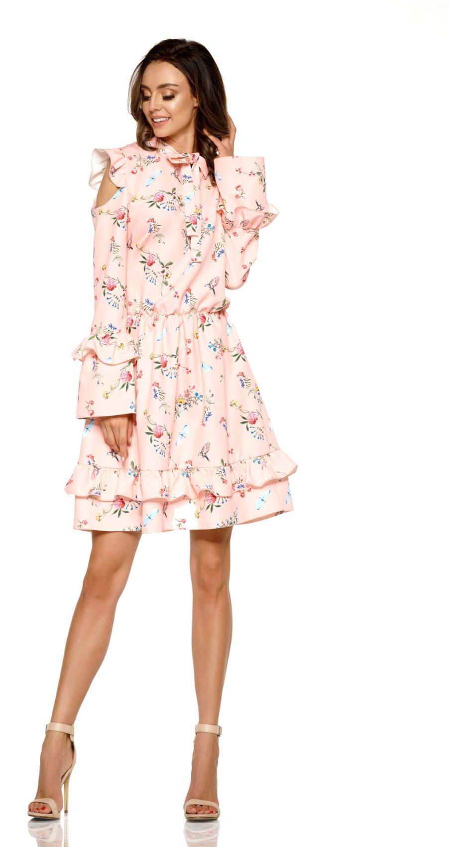 Modna sukienka z wyciętymi ramionami L276 pudrowy róż w kwiatki