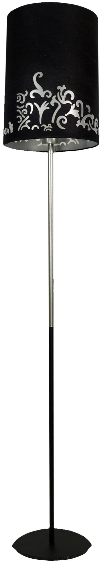 Candellux CYNIA 51-18949 lampa podłogowa abażur czarny welurowy z dekorem 1X60W E27 25 cm