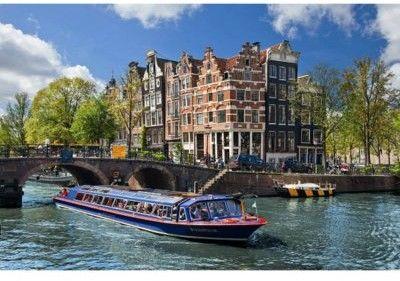 Puzzle Ravensburger 1000 - Kanał wodny Amsterdam, Holandia, Canal cruise in Amsterdam, Netherlands