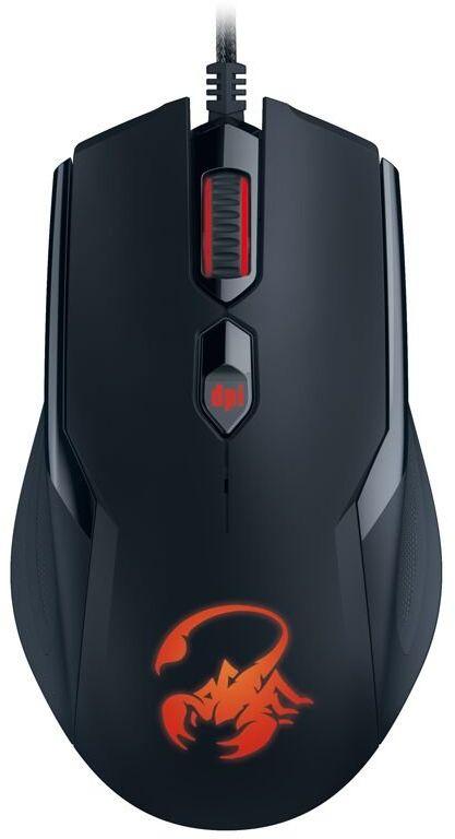 Genius AMMOX X1-400 mysz gamingowa z 4 przyciskami, symetryczny kształt pomiędzy 400 i 3200 dpi, 5 profili makro z oświetleniem makro każdy 10