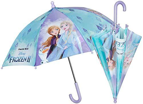 POS 30843088 - parasol z motywem Disney Frozen II, parasol dla dziewcząt, średnica ok. 66 cm, ręczne otwieranie zabezpieczające i stelaż z włókna szklanego, idealny towarzysz na deszczowe dni