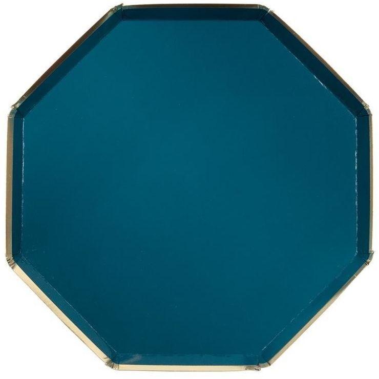 Meri Meri - Duże talerzyki oktagonalne ciemna zieleń