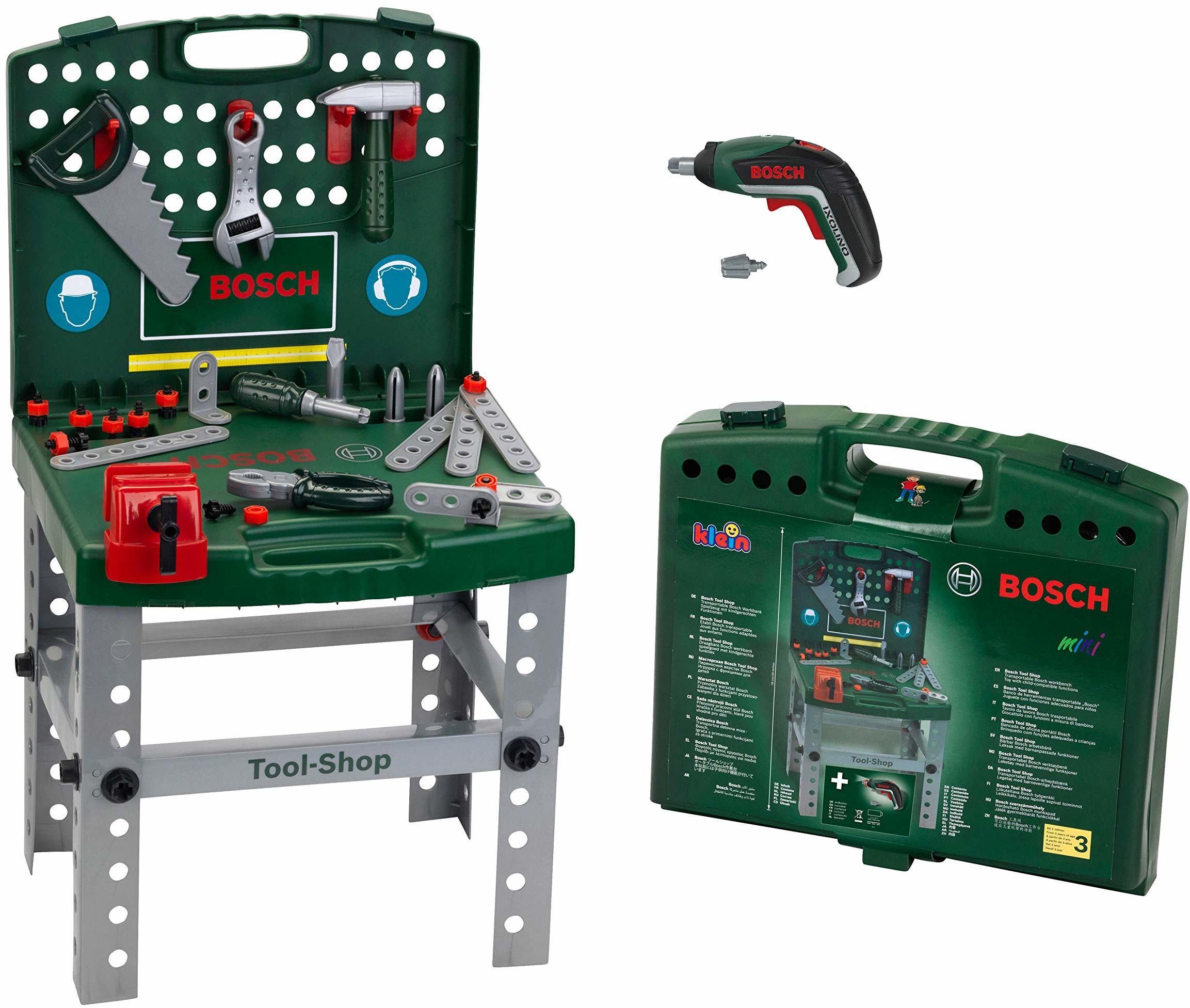 Theo Klein 8676 Tool Shop I Z wkrętarką akumulatorową Bosch Ixolino I składana i łatwa do przenoszenia I Wymiary: 41,5 cm x 8,5 cm 76,5 cm I zabawka dla dzieci od 3 lat