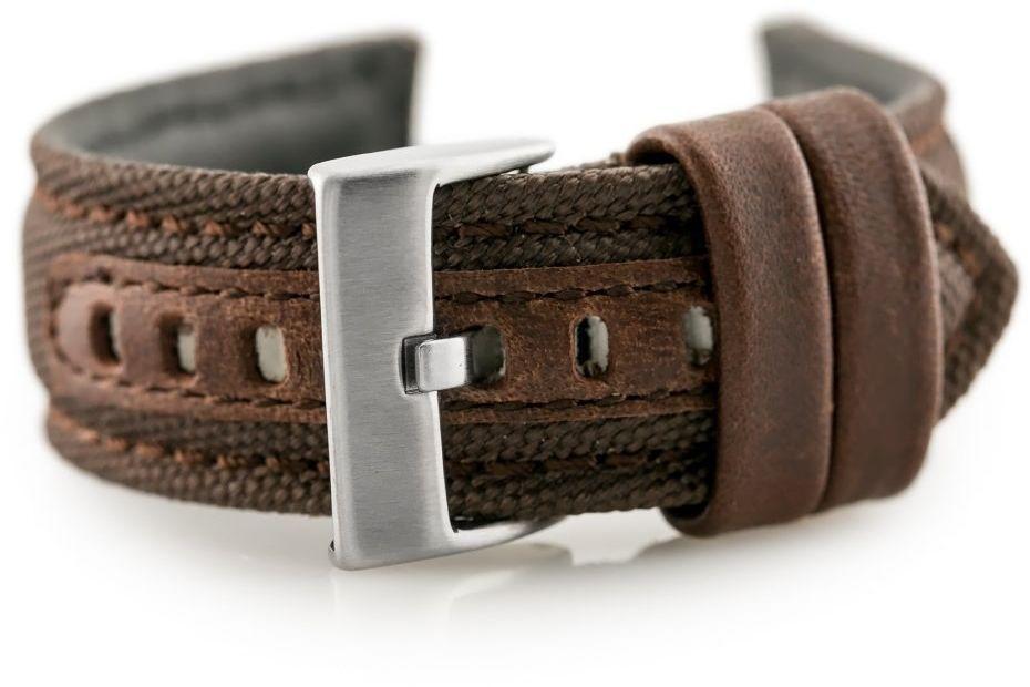 Pasek skórzany do zegarka W34 - PREMIUM - brązowy - 22mm