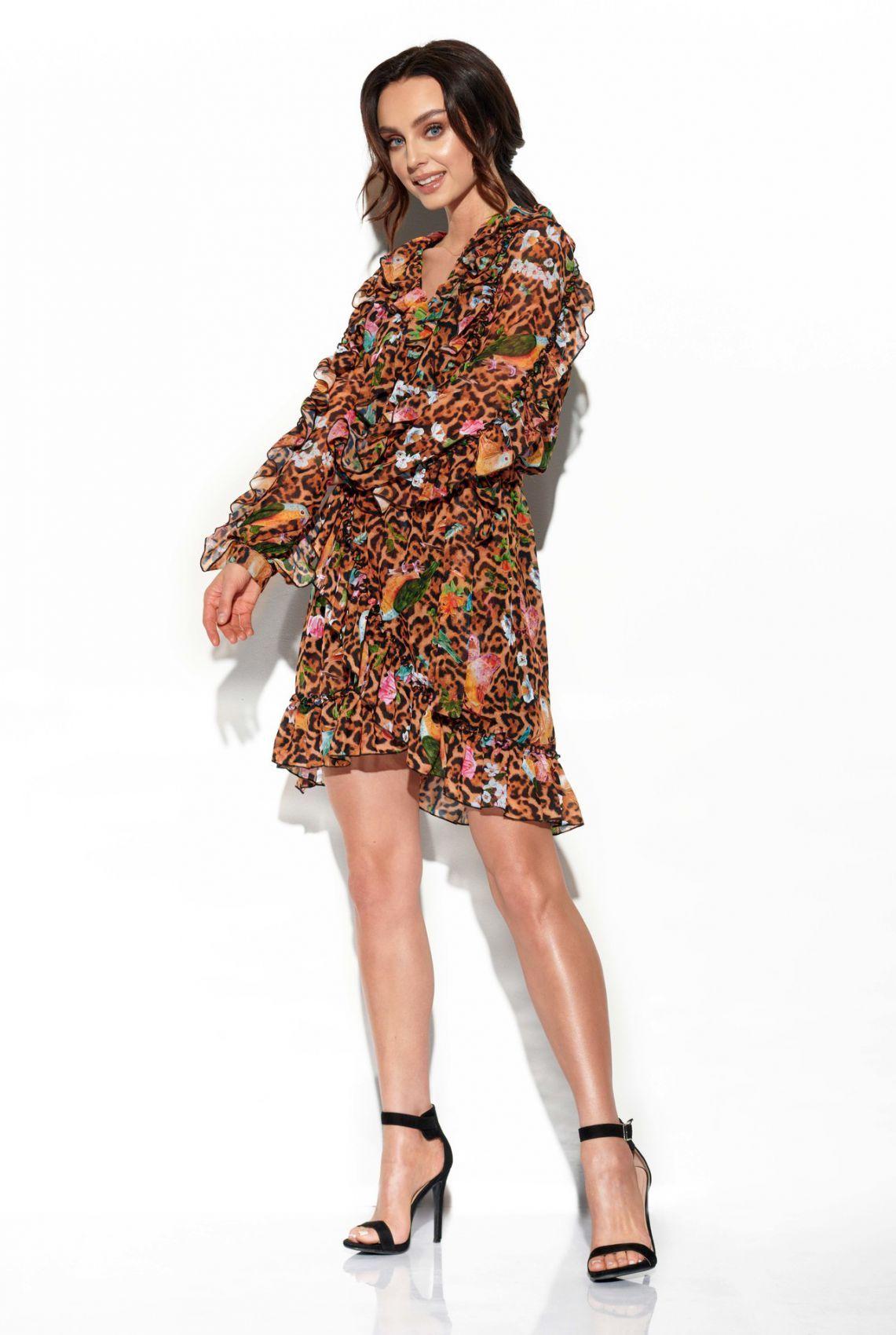 Szyfonowa sukienka z jedwabiem i falbankami wzór LG517 druk 13