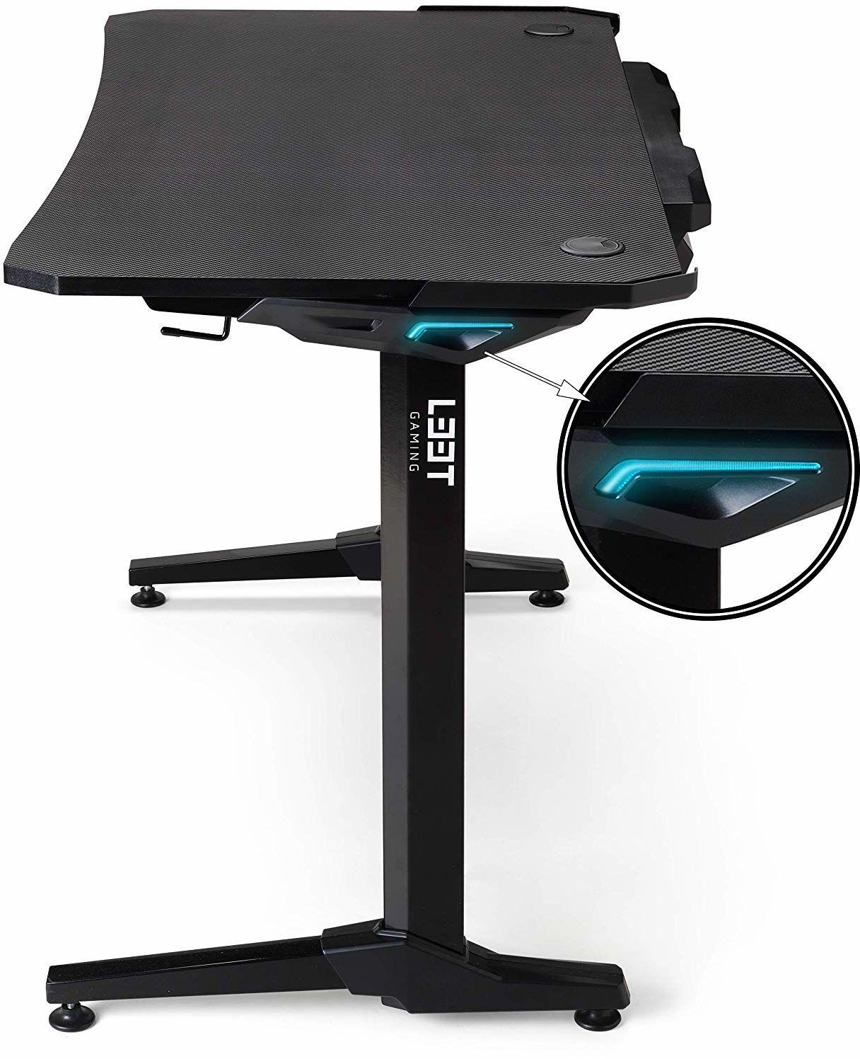 """L33T Gaming Ergonomic E-Sport stół do gier Tournament V2 biurko do gier z systemem zarządzania kablami 44,3"""" z oświetleniem LED, stolik komputerowy, czarny stolik z włókna węglowego do biura"""