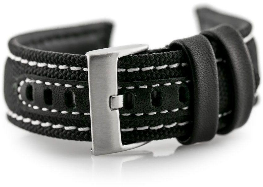 Pasek skórzany do zegarka W34 - PREMIUM - czarny/białe - 24mm