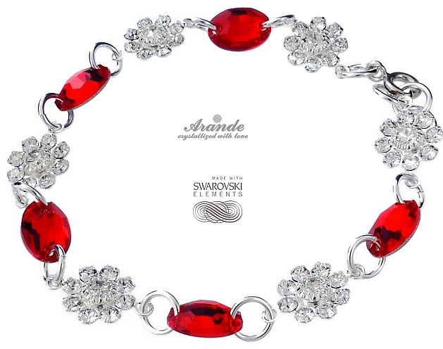 Bransoletka SWAROVSKI CRYSTALS SREBRO RED FEEL