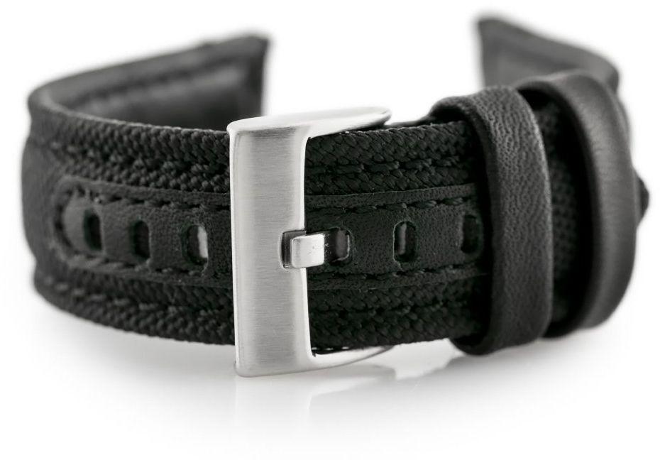 Pasek skórzany do zegarka W34 - PREMIUM - czarny/czarne - 24mm