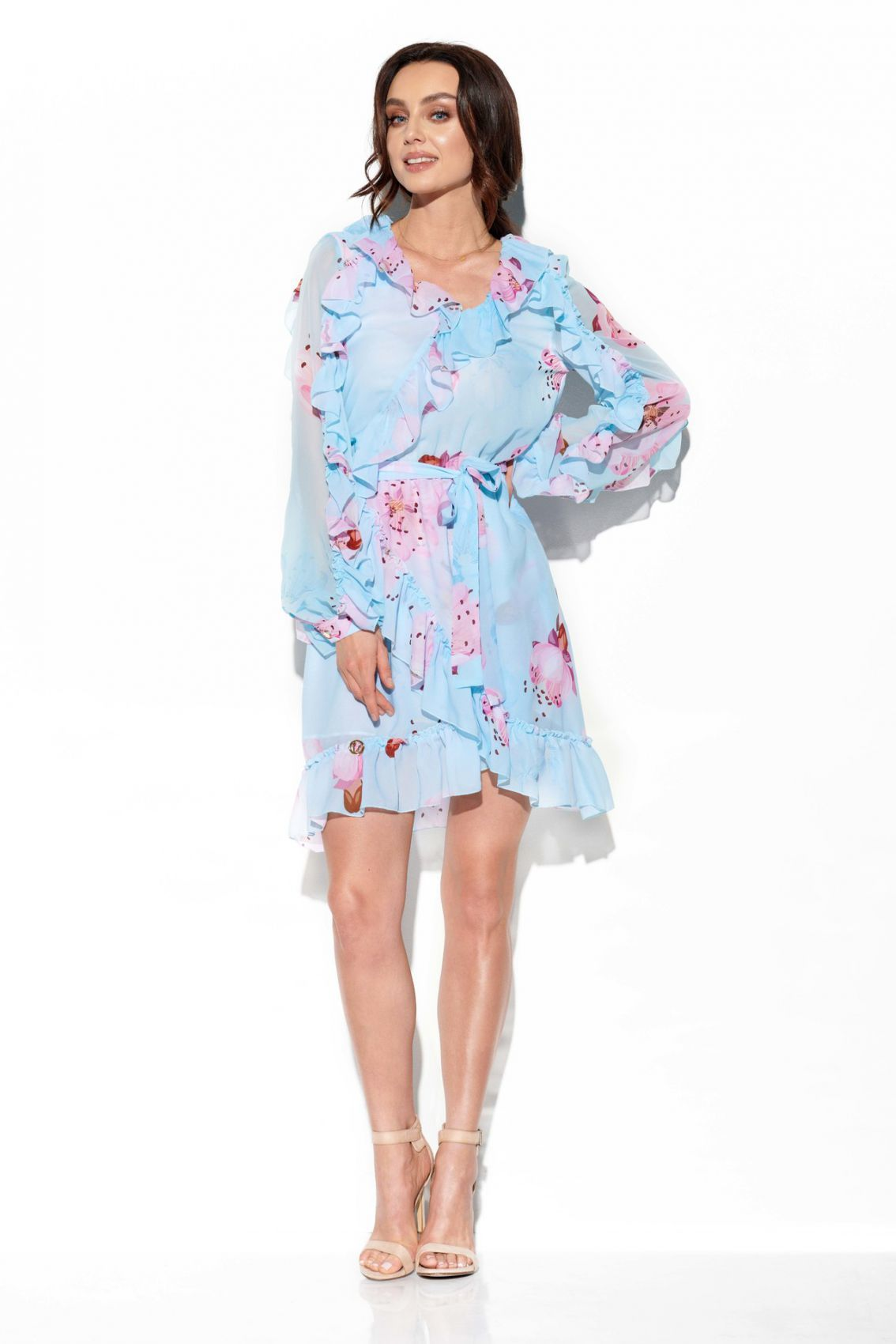 Szyfonowa sukienka z jedwabiem i falbankami wzór LG517 druk 18