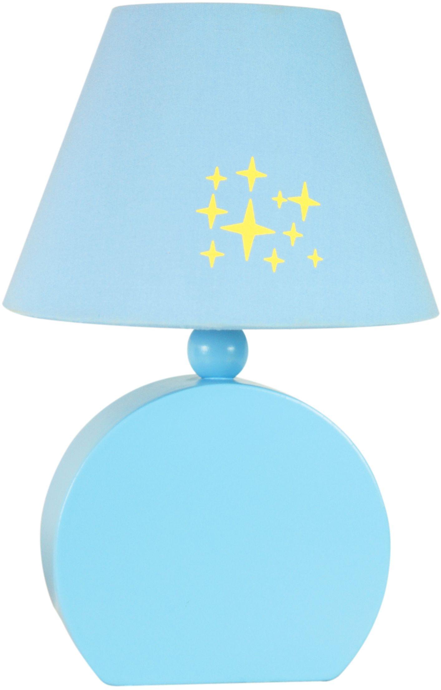 Candellux OFELIA 41-62461 lampa stołowa abażur tkanina niebieska 1X40W E14 18 cm