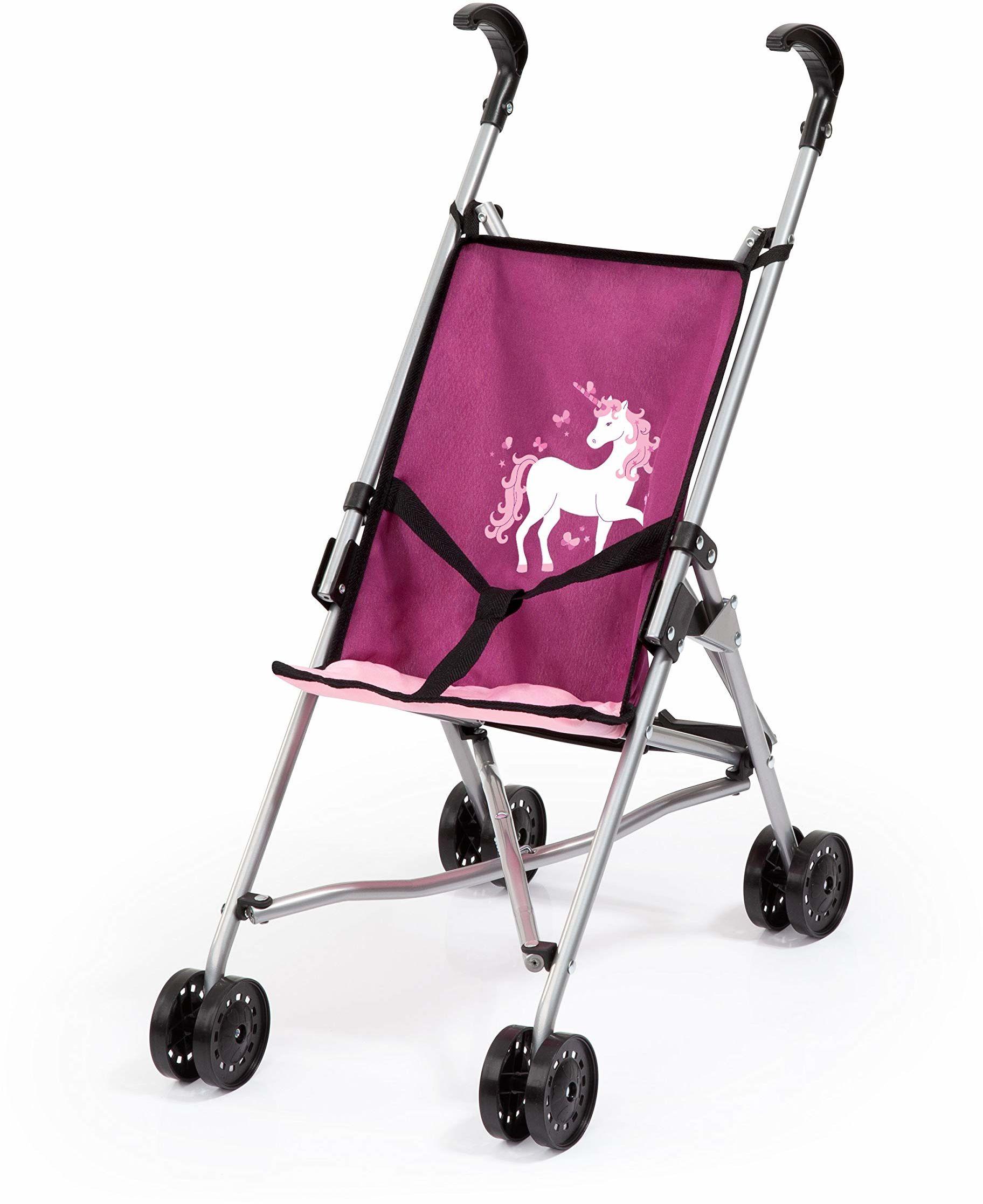 Bayer Design 30537AA lalki Buggy, wózek dziecięcy, wózek na parasol, z wbudowanym paskiem, składany, różowy z jednorożcem