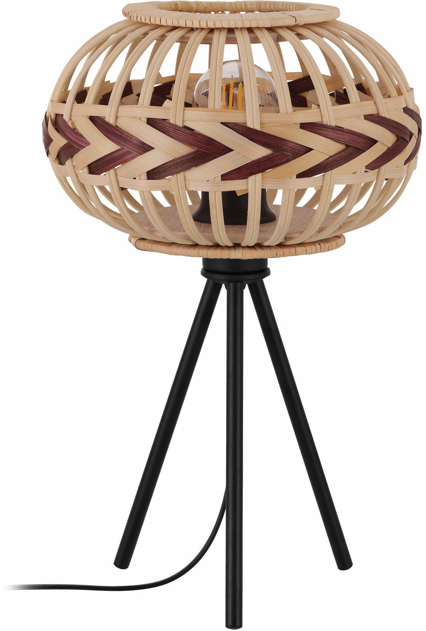 EGLO Dondarrion lampa stołowa w stylu vintage, skandynawski, Boho, lampka nocna ze stali, drewna, lampa do salonu w kolorze czarnym, naturalnym, czerwone wino, lampa z przełącznikiem, oprawka E27