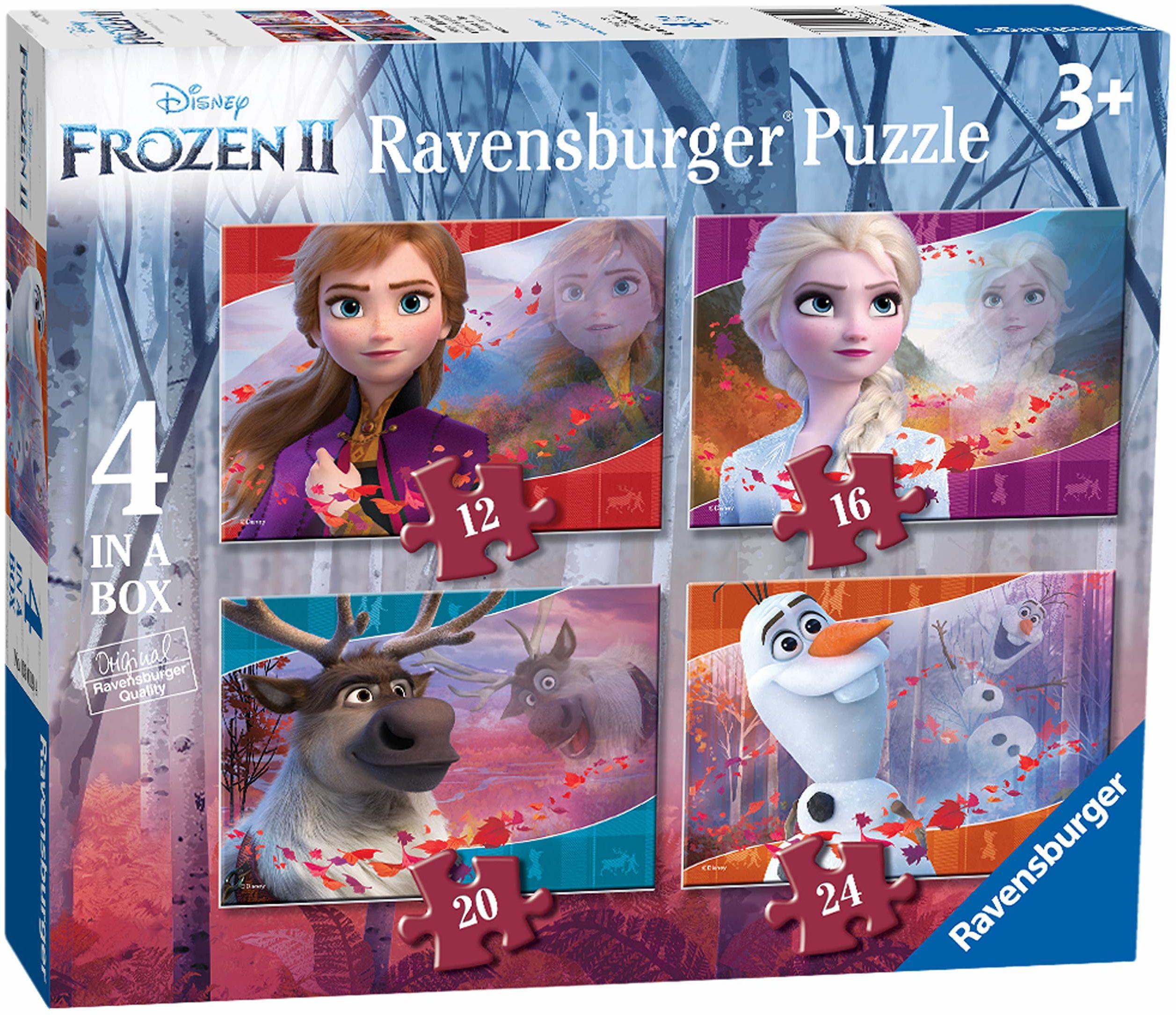 Ravensburger 3019 Disney Frozen 2, 4 w pudełku (12, 16, 20, 24 sztuk) puzzle dla dzieci w wieku od 3 lat,