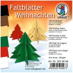 Kartki do składania na Boże Narodzenie, 100 arkuszy papieru kolorowego 130 g/m , 10 x 10 cm