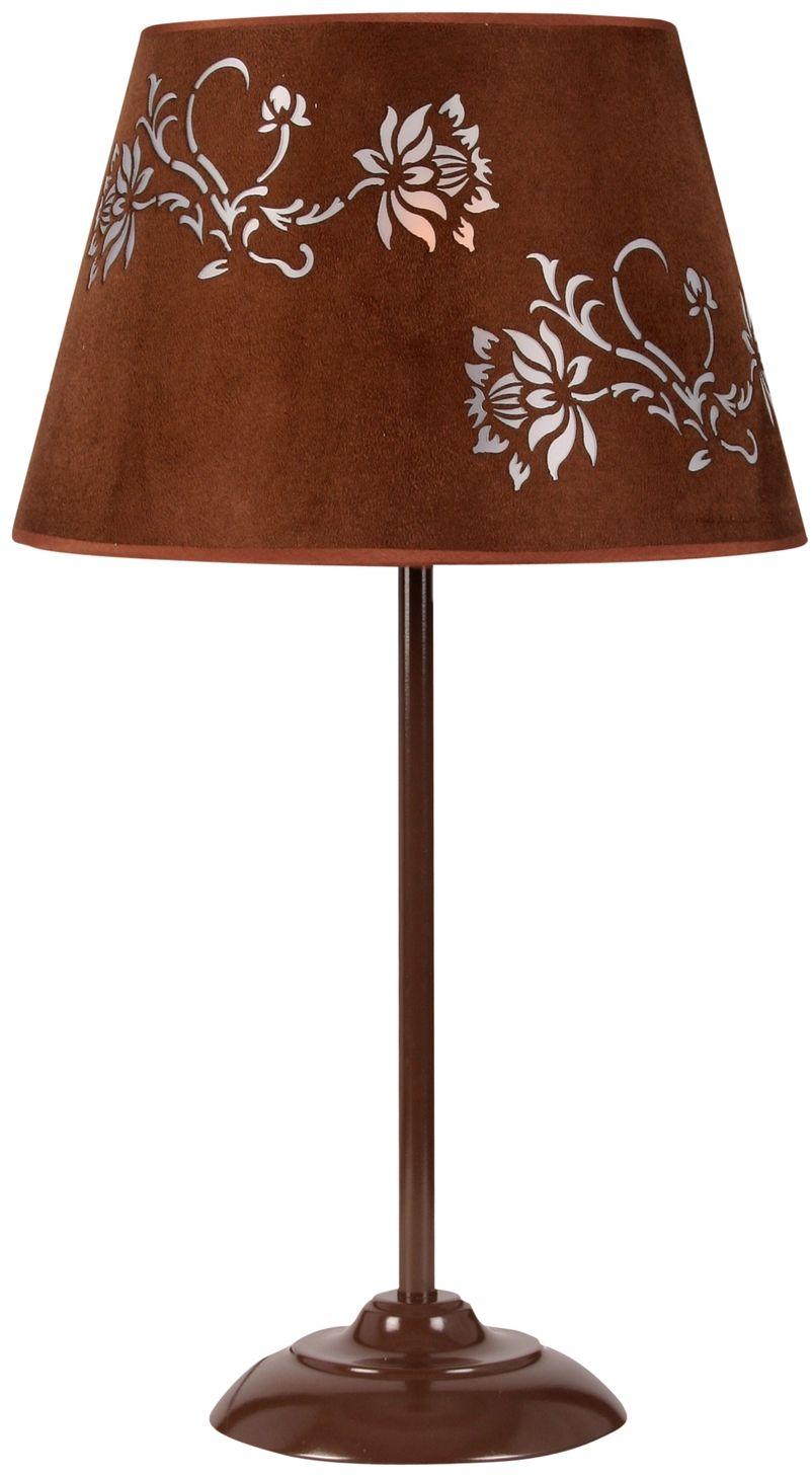 Candellux OFRA 41-15016 lampa stołowa abażur welurowy z roślinnym dekorem 1X60W E27 30 cm