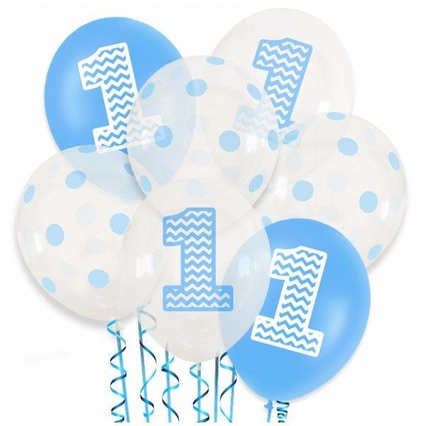 Zestaw balonów na Roczek chłopca 15 sztuk ZB5
