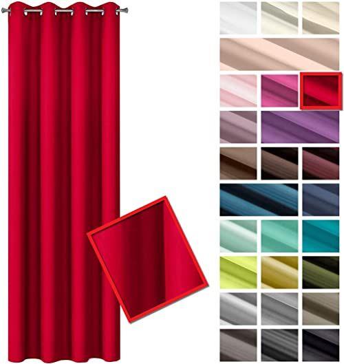 Eurofirany Rita zasłona, gładka, jednokolorowa, 8 oczek, do sypialni, salonu, pokoju dziecięcego, 1 sztuka, poliester, czerwona, 140 x 250 cm