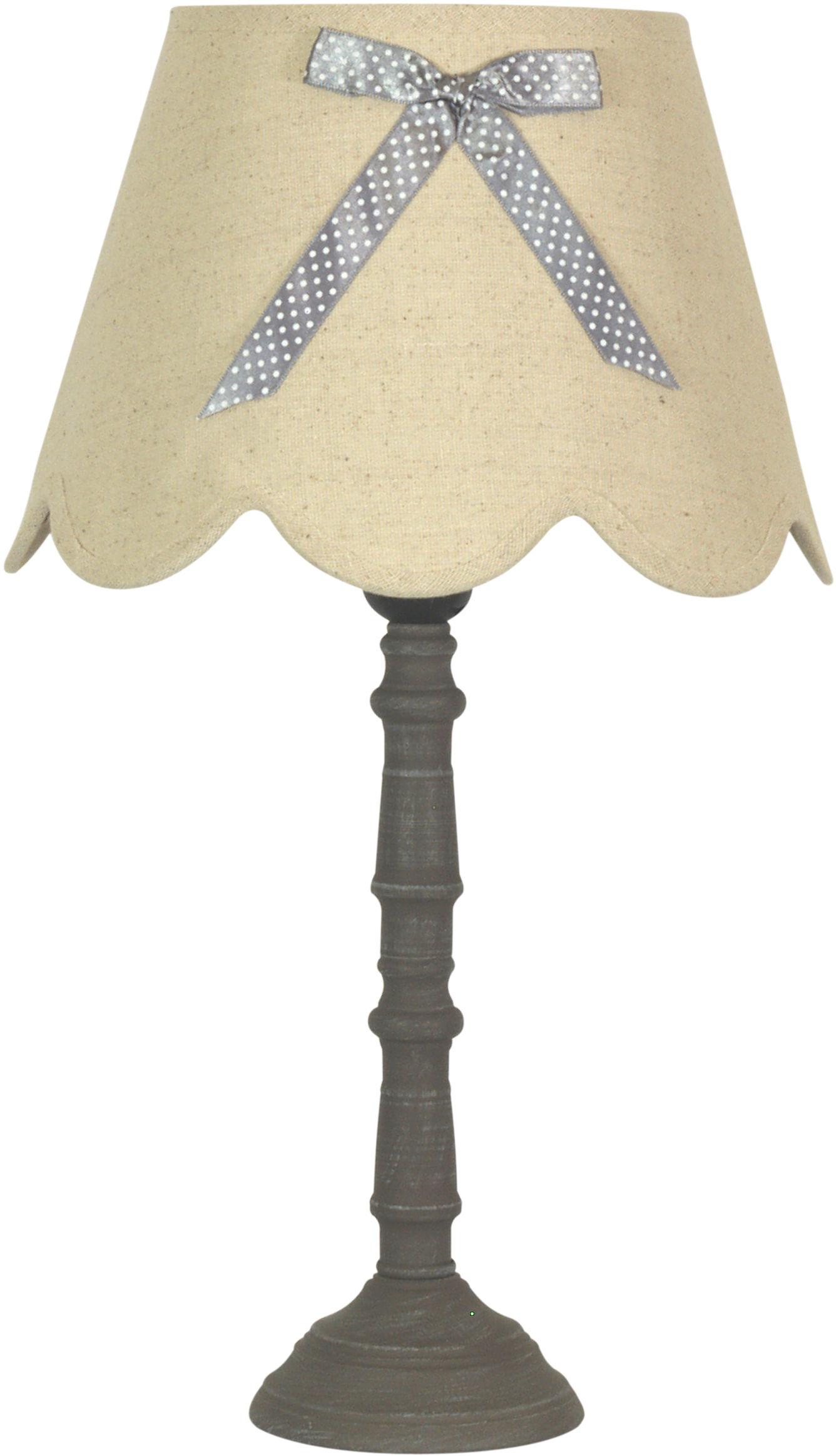Candellux VIBU 41-28365 lampa stołowa abażur z efektowną kokardą len 1X60W E27 28 cm