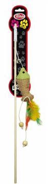 CAT LIFE STYLE Zabawka dla Kota Wędka z Rybką i piórkami. Długość wędki - 40cm.