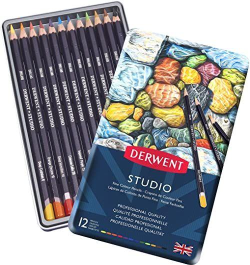 Derwent, 12 Kredek do Kolorowania i Rysowania Derwent Studio, Metalowe Pudełko (32196)