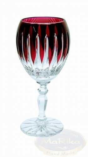 Rubinowe kryształowe kieliszki do likieru 60ml Linia 6 sztuk