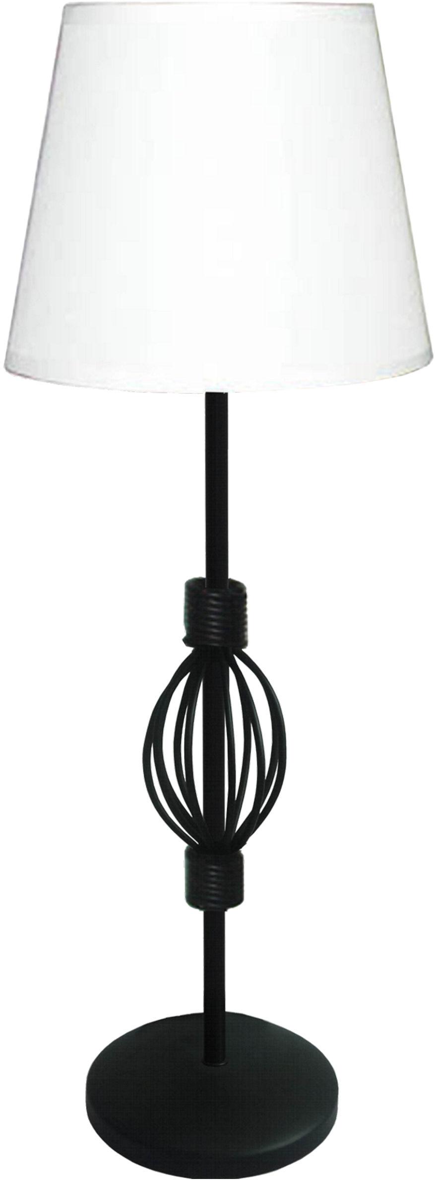 Candellux ROSETTE 1 41-96978 lampa stołowa abażur tkanina biała + rozeta dekoracyjna 1X40W E14 18 cm