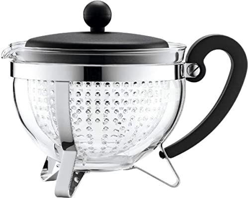 Bodum CHAMBORD dzbanek na herbatę (kolorowa plastikowa pokrywka, filtr, odporny na ciepło, 1,0 l/34 uncje) - czarny