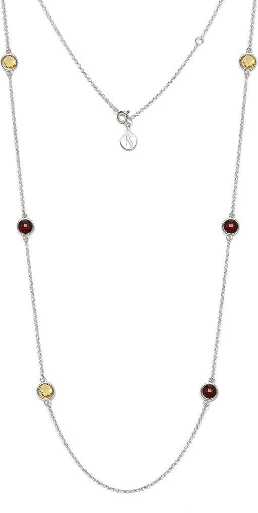 Kuźnia Srebra - Naszyjnik srebrny, 81cm, Granat, Cytryn, 12g, model