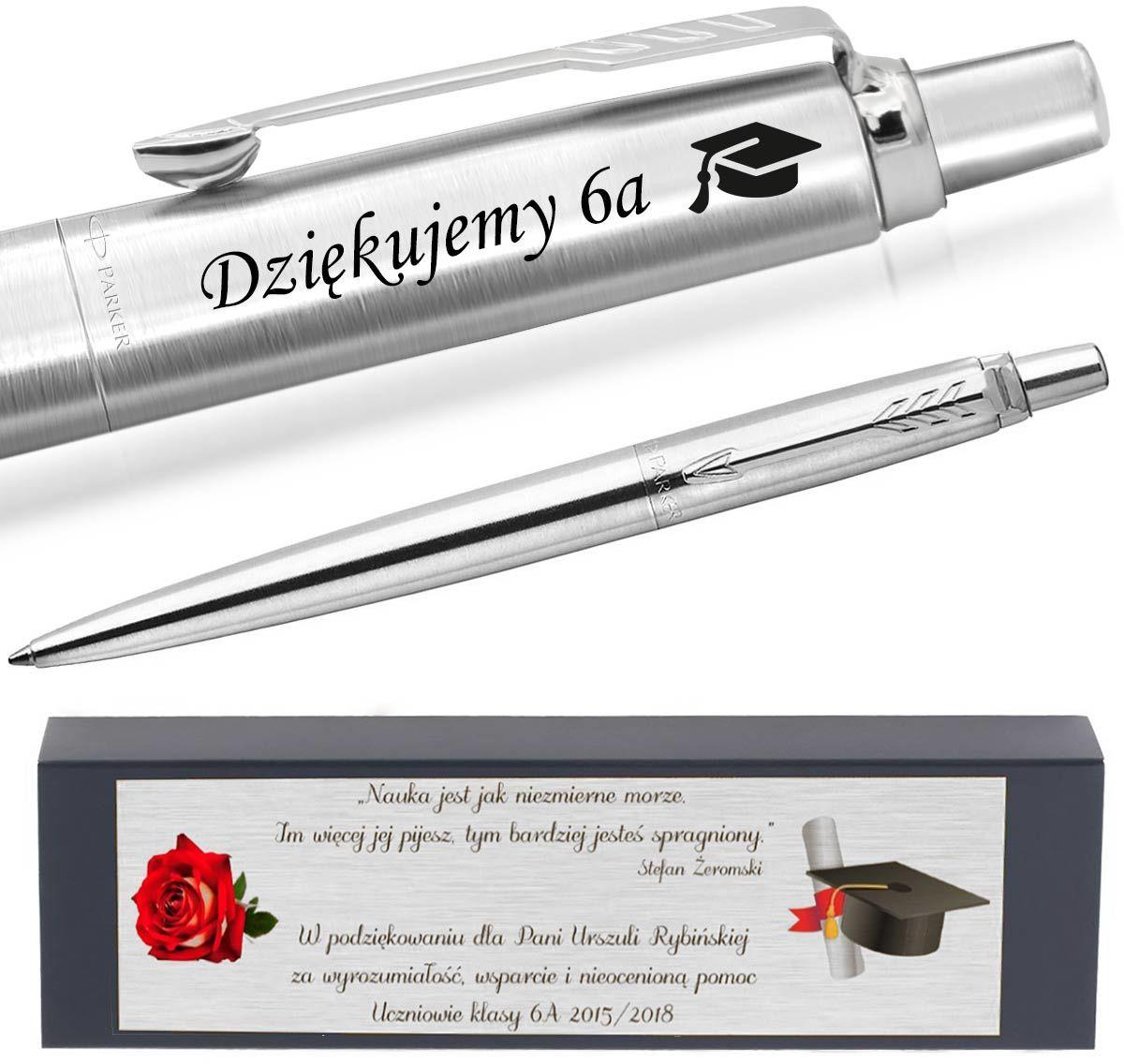 Długopis PARKER Jotter stalowy CT Twój GRAWER Tabliczka z dedykacją
