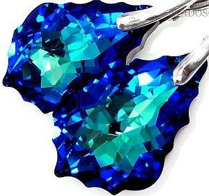 Kryształy kolczyki BERMUDA BLUE SREBRO CERTYFIKAT