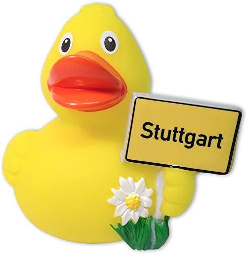 Kaczka kąpielowa miasto Stuttgart Pani Wander Touren-Kaczka żółta, z tworzywa sztucznego, w przezroczystym opakowaniu.