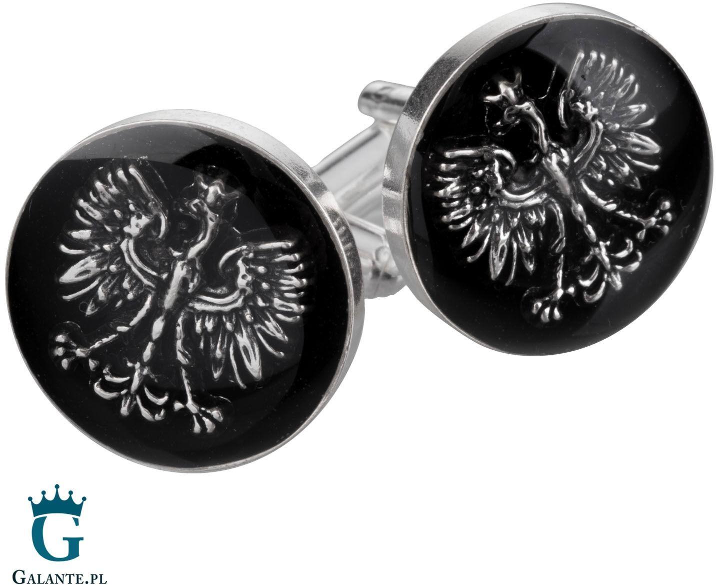 Srebrne spinki do mankietów orzeł i węgiel smw-018