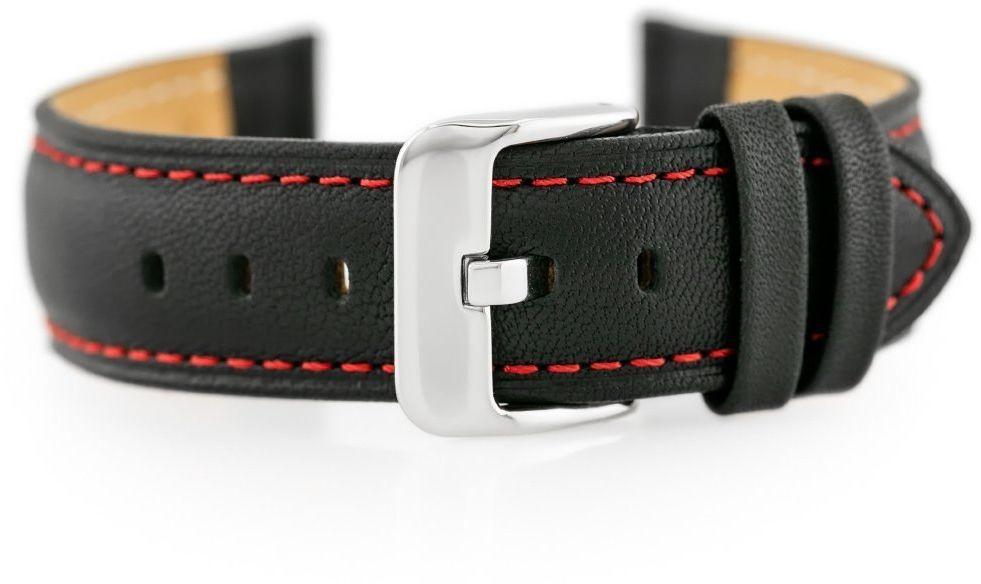 Pasek skórzany do zegarka BISSET BS-158 - 20mm (red)